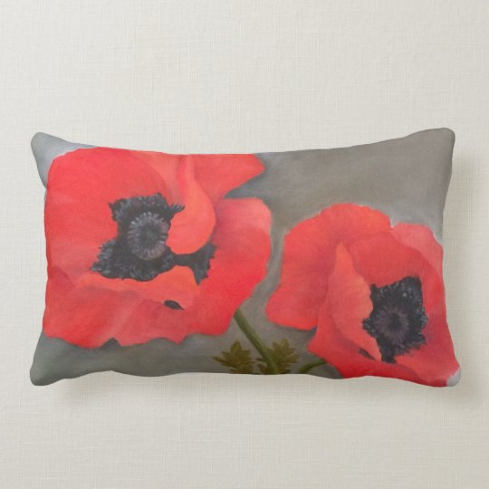 Red Poppy Toss Pillow