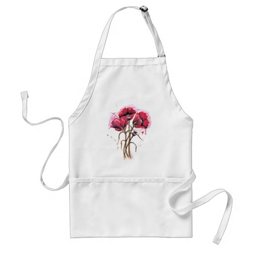 Red Poppy Watercolor Apron