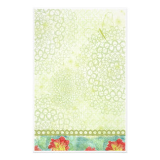 Red Poppy Watercolor Flowers Chatreuse Green Stationery