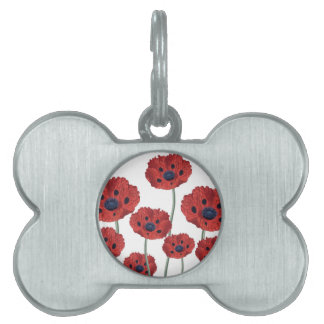 Red Poppy White Pet ID Tag