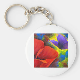 Red Poppy With Butterfly Art - Multi Basic Round Button Keychain