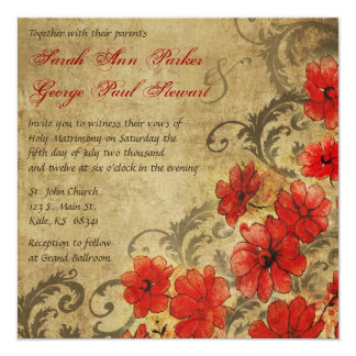 Red Poppy with Flourishes Vintage Wedding Card