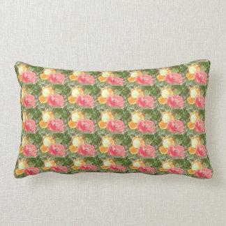 Red Poppy & Yellow Flower Fractal Lumbar Pillow