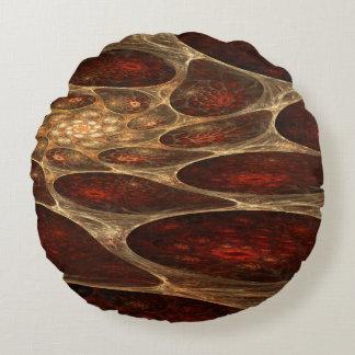 Red Porous Fractal Round Pillow