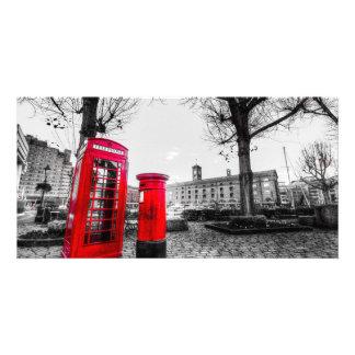 Red Post Box Phone box London Custom Photo Card