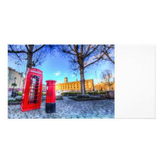 Red Post Box Phone box London Photo Card