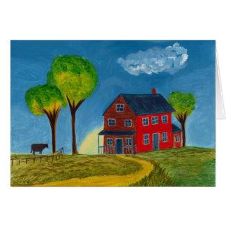 Red Prairie House Greeting Card