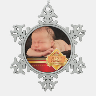 Red Prince Baby Boy Photo Christmas Pewter Snowflake Ornament
