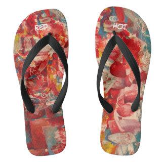 """red printed flip flops. """"Red"""" Flip Flops"""