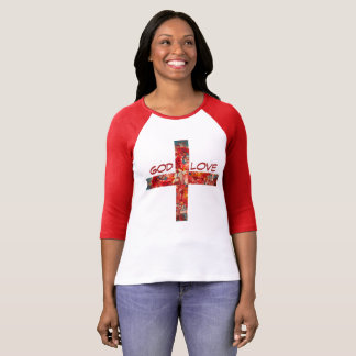 "red printed T-Shirt ""God +Love"""