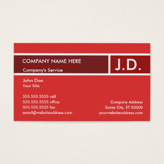 red professional initials business card