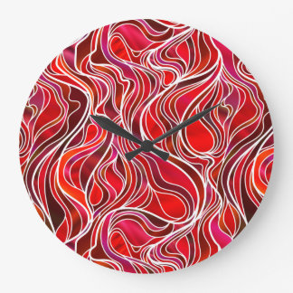 Red Psychedelic Stained Glass Style Clock