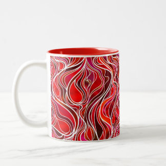 Red Psychedelic Stained Glass Style Two-Tone Coffee Mug