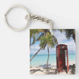 Red public Telephone Booth on Antigua Double-Sided Square Acrylic Keychain