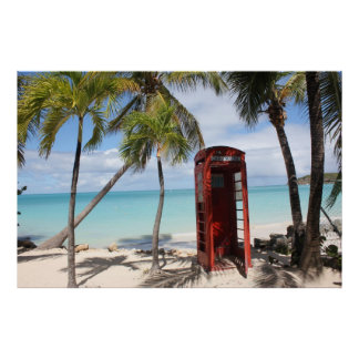 Red public Telephone Booth on Antigua Poster