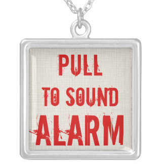 RED Pull to Sound Alarm Funny Necklace