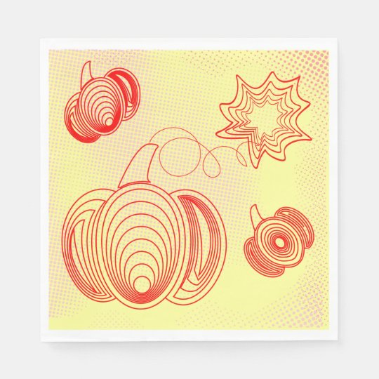 Red pumpkins with rustic retro halftones disposable napkins