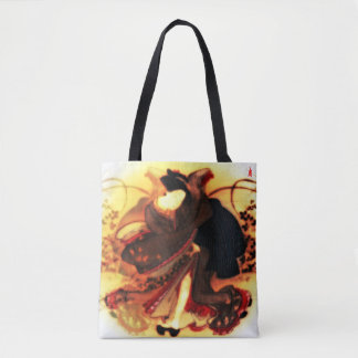 "red puppy ""beauty in an autumn field"" tote bag"