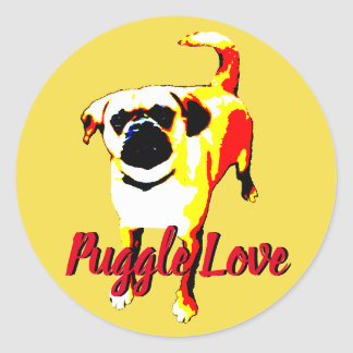 "red puppy ""puggle love"" classic round sticker"