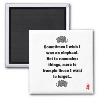 """red puppy """"sometimes I wish... elephant"""" Magnet"""