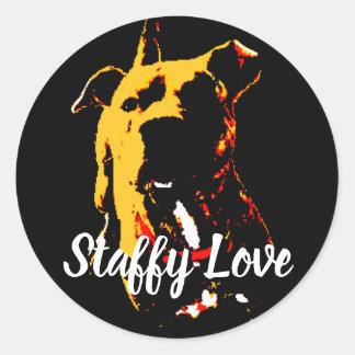 """red puppy """"staffy love"""" classic round sticker"""