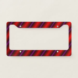 Red, Purple and Black Laser-Like Line Pattern License Plate Frame