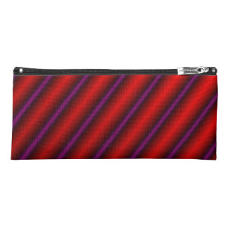 Red, Purple and Black Laser-Like Line Pattern Pencil Case