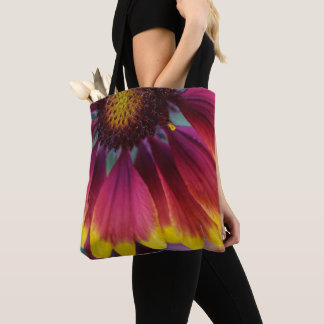 Red Purple and Yellow Firewheel Flower Tote Bag