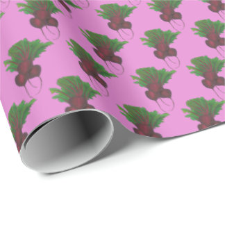Red Purple Beet Bunch Vegan Foodie Vegetable Print Wrapping Paper