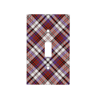 Red, Purple, Black and White Tartan Plaid Light Switch Cover