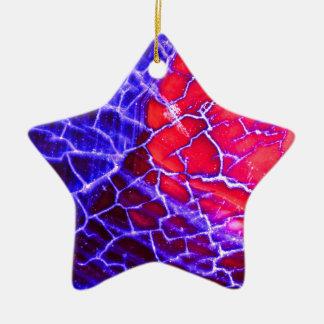 Red & Purple Cracked Quartz Crystal Ceramic Star Ornament