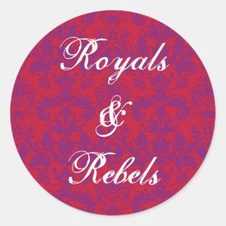 Red & Purple Damask Round Sticker