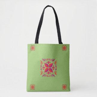Red purple&green graphic design tote bag