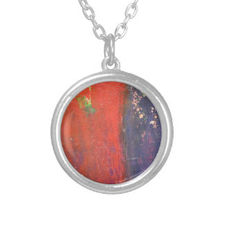 red purple urban abstract art round pendant necklace