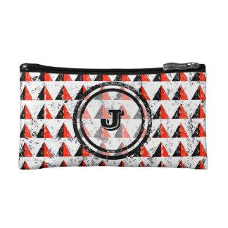 Red Pyramid Geometric Monogram Makeup Bag