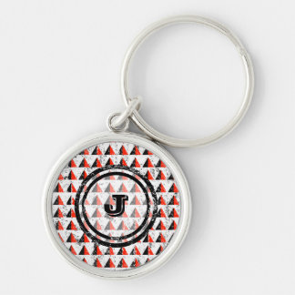 Red Pyramid Geometric Monogram Silver-Colored Round Keychain