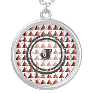 Red Pyramid Geometric Monogram Silver Plated Necklace