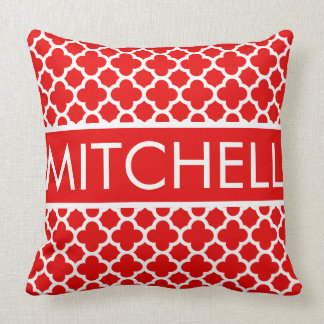 Red Quatrefoil FB Personalized Throw Pillow