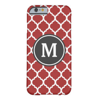 Red Quatrefoil Monogram Barely There iPhone 6 Case