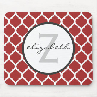 Red Quatrefoil Monogram Mouse Pad