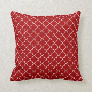 Red Quatrefoil Pattern Decorative Pillow