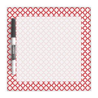 Red Quatrefoil Pattern Dry Erase Board
