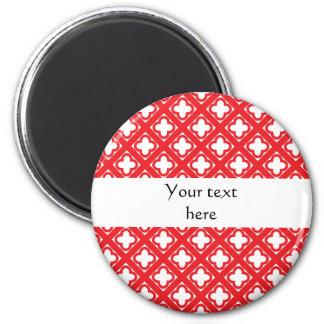 Red Quatrefoil Pattern Magnet