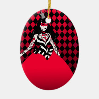 Red Queen of Hearts oval ornament