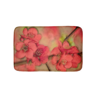 Red Quince Blossom Bathroom Mat