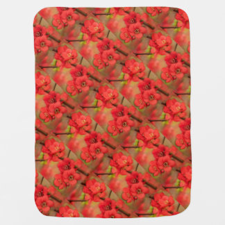 Red Quince Blossom Receiving Blanket
