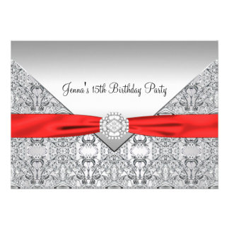 Red Quinceanera 15th Birthday Party Invitation
