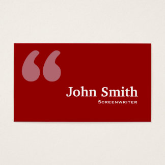 Red Quotes Screenwriter Business Card