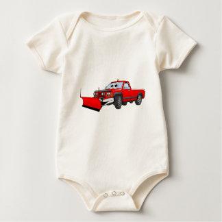 Red R Pick Up Snow Plow Cartoon Baby Bodysuit