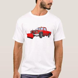 Red R Pick Up Snow Plow Cartoon T-Shirt
